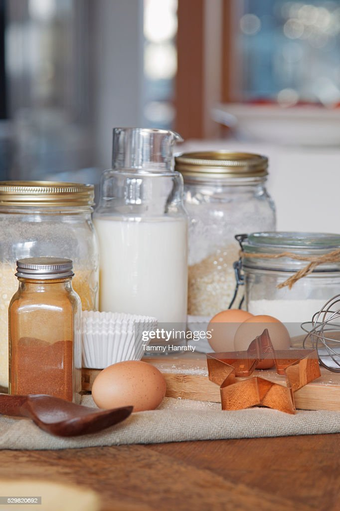 Close up of jars and ingredients on table : Stock-Foto