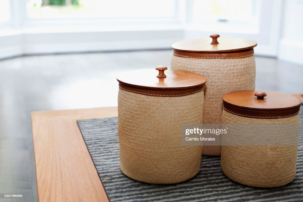 Close up of jars on countertop : Foto stock