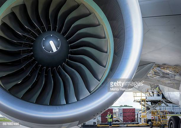 Close up of jet turbine on A380 aircraft