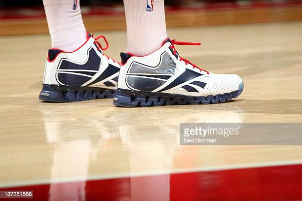 A close up of John Wall of the Washington Wizards sneakers during the game against the New Jersey Nets at the Verizon Center on December 26 2011 in...
