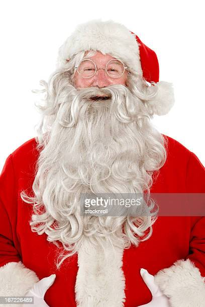 Close up of jolly laughing Santa on white background.