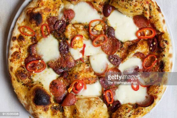 BETHESDA MD Close up of Jorge's Inferno pizza at Alatri Bros photographed in Bethesda MD