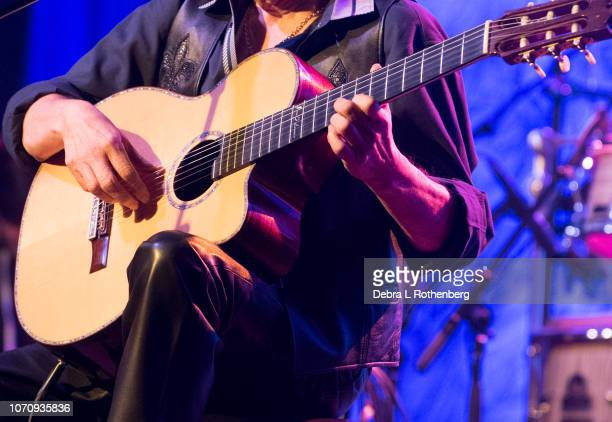 Close up of Jose Feliciano playing his guitar during his Holiday Feliz Navidad Show at Sony Hall on December 9 2018 in New York City