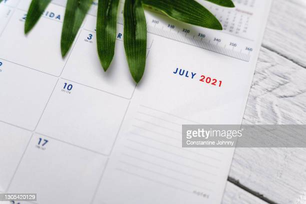 close up of july 2021 calendar - 2021 stock pictures, royalty-free photos & images