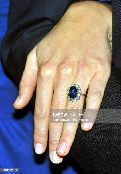 Close up of Kate Middleton's engagement ring, during a photocall in the State Apartments of St James's Palace, London to mark her engagement to...