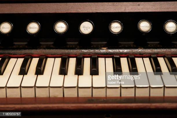 close up of keys in piano - church organ stock pictures, royalty-free photos & images
