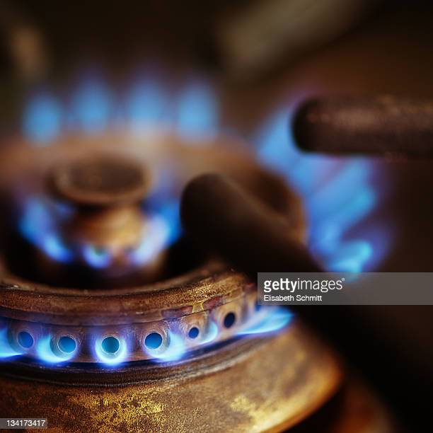 Close up of kitchen gas burner