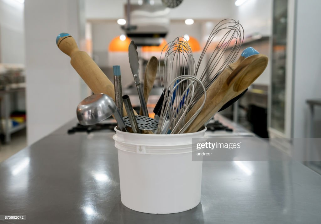 Close Up Of Kitchen Utensils At An Industrial Kitchen