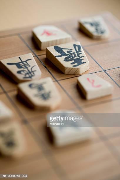 Close up of koma on shogi board