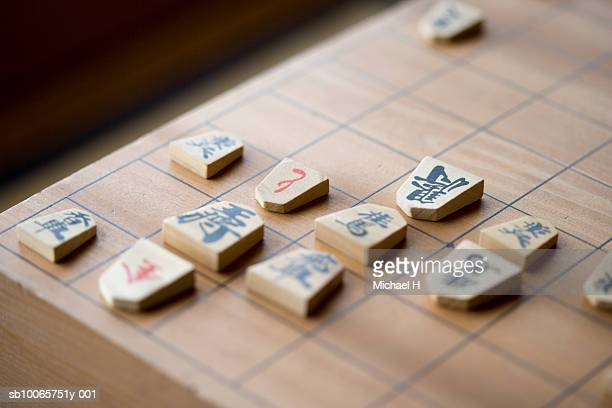 Close up of koma on shogi board