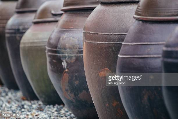 Close up of Korean clay jars