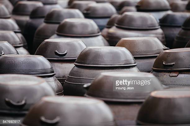 close up of korean clay jars - soy sauce stock pictures, royalty-free photos & images