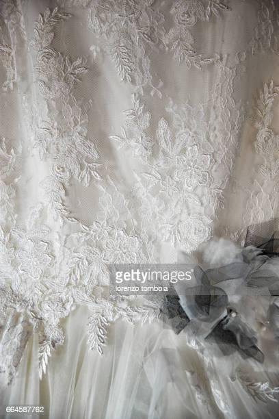 Close up of lace detail, wedding dress pattern