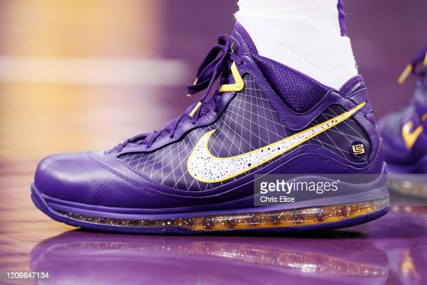 Close up of LeBron James of the Los Angeles Lakers shoes during a game against the Brooklyn Nets at the Staples Center on March 10 2020 in Los...