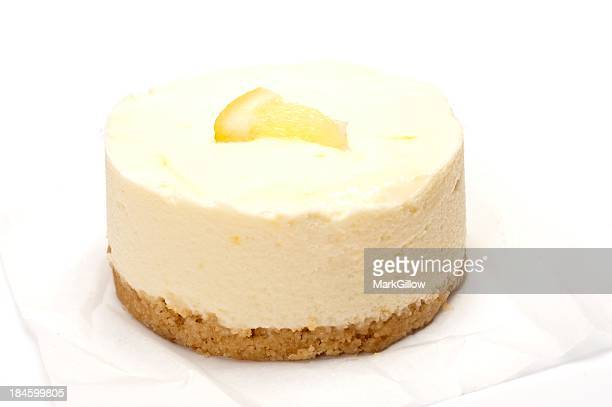 Close up of lemon cheesecake on white towel