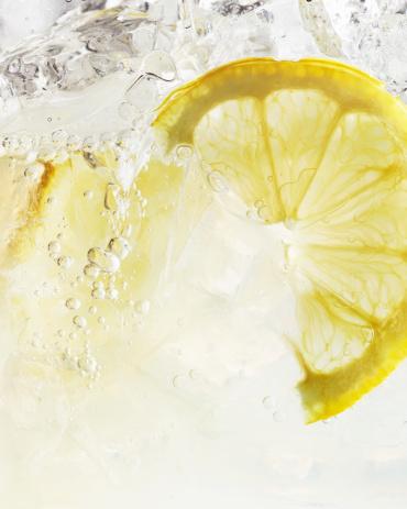 Close Up of Lemon Slice in Iced Spritzer - gettyimageskorea