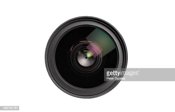 Close up of lens on white background