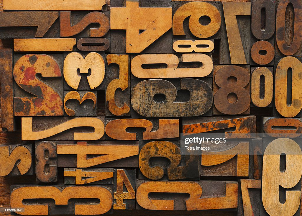 Close up of letterpress with numbers : Stock Photo