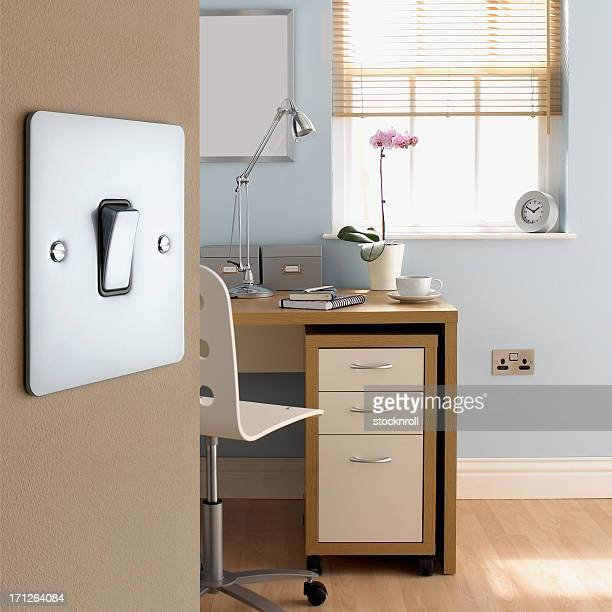 Close up of light switch in office