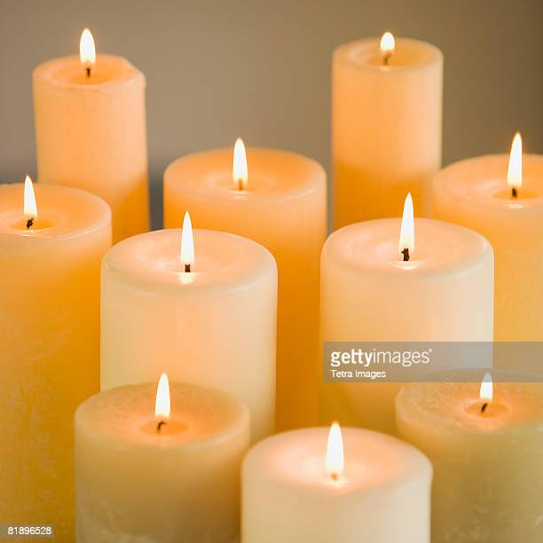 Close up of lit candles