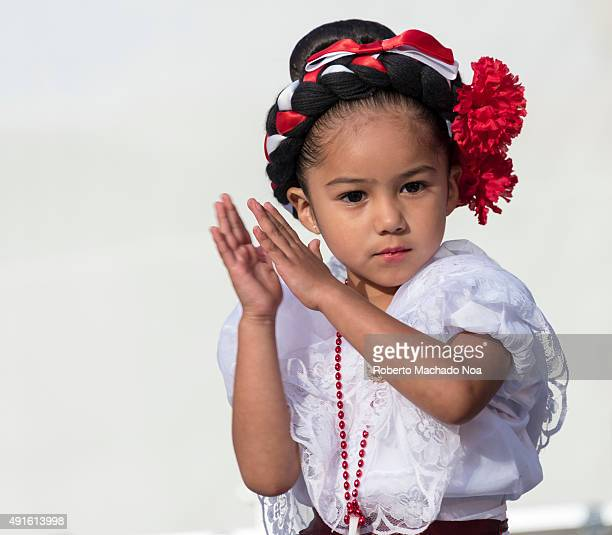 SQUARE TORONTO ONTARIO CANADA Close up of little girl clapping while performing the Flamenco folk dance at MexFest 2015 in Toronto MexFest 2015 is...