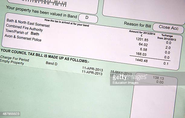 Close up of local authority Council Tax bill UK