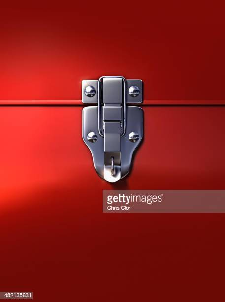 close up of lock on metal box - toolbox stock photos and pictures
