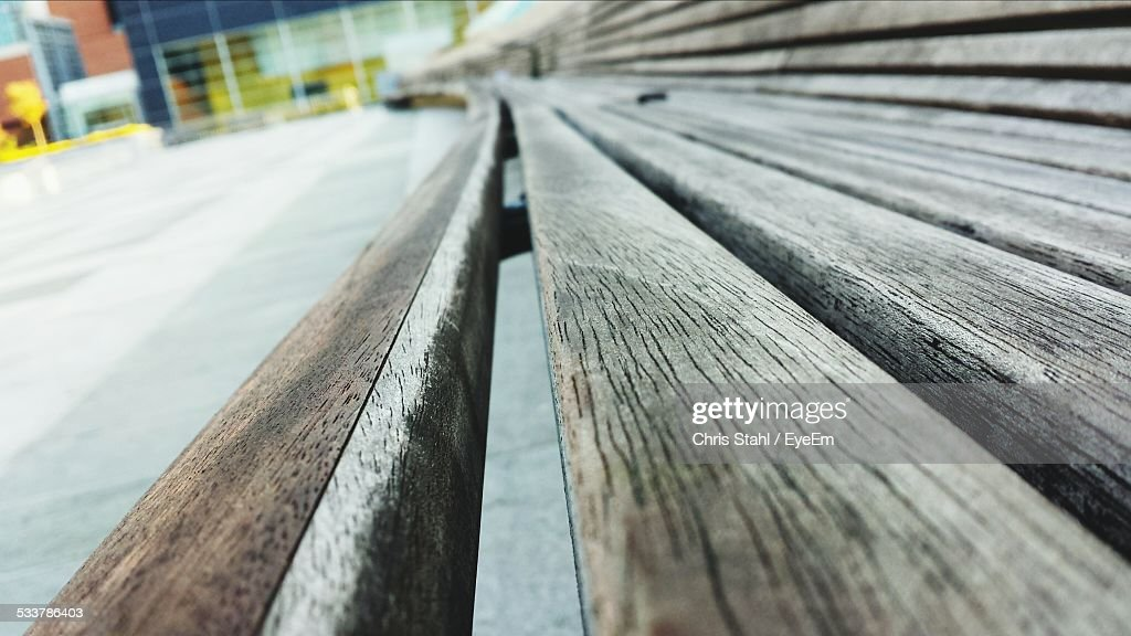 Close Up Of Long Bench : Foto stock