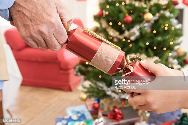 Close up of man and boys hands pulling christmas cracker