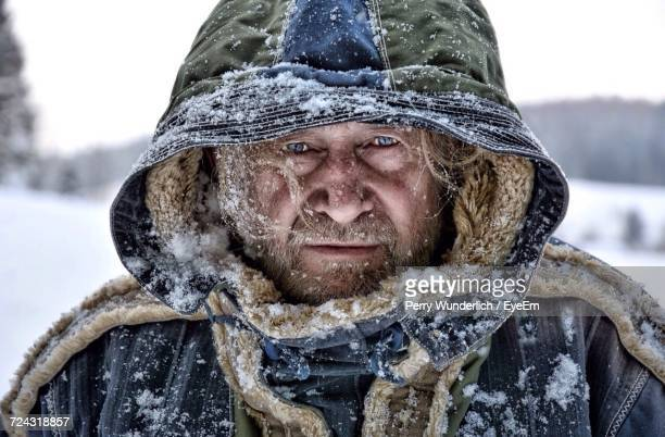 Close Up Of Man In Snow