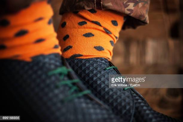 Close Up Of Man Wearing Colorful Socks