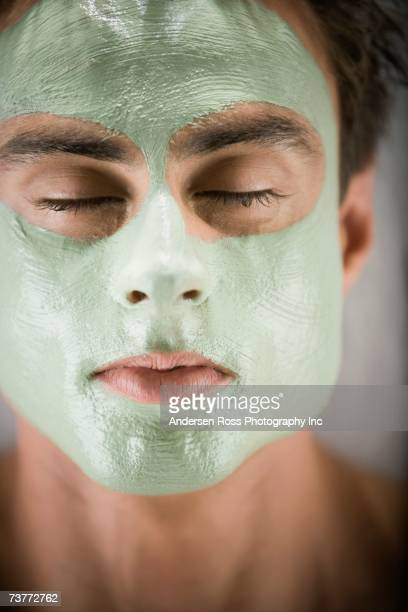 Close up of man with spa facial treatment