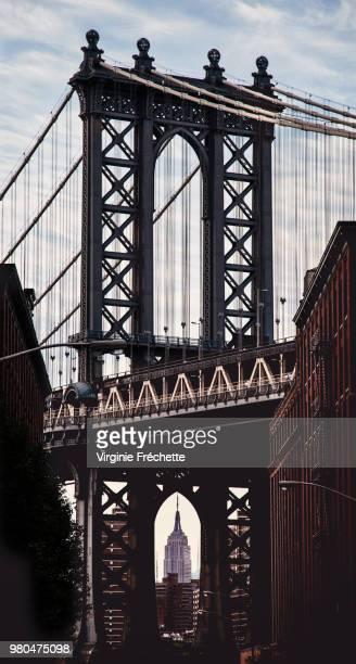 close up of manhattan bridge, new york city, new york, usa - international landmark stock pictures, royalty-free photos & images