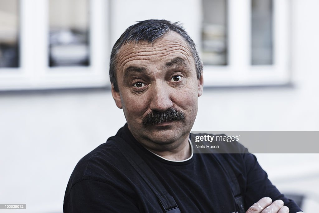 Close up of mans surprised face : Stock Photo