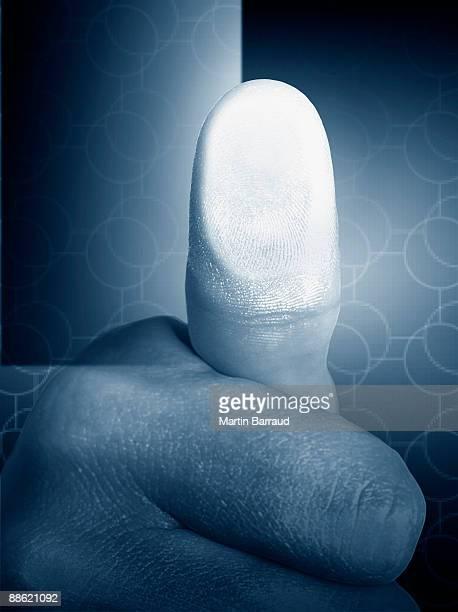 Close up of mans thumb print