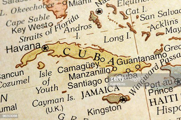 Close up of map of Cuba and surrounding areas