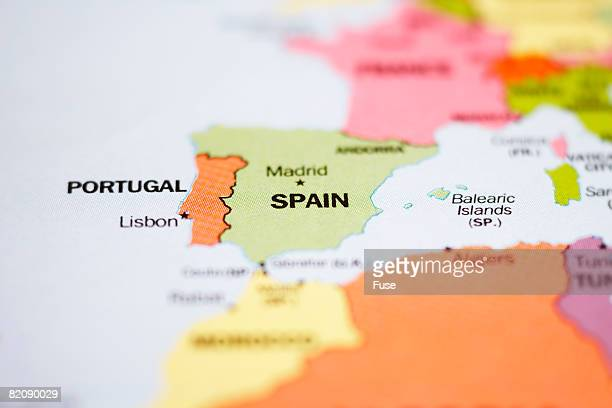 Close up of Map of Europe Focused on Spain and Portugal