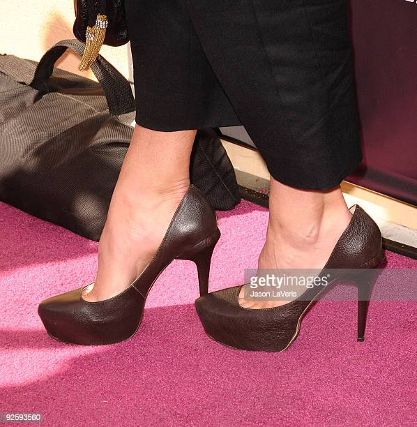 A close up of Maria Sharapova's shoes at the launch of the Sony Ericsson Equinox phone on October 31 2009 in Canoga Park California