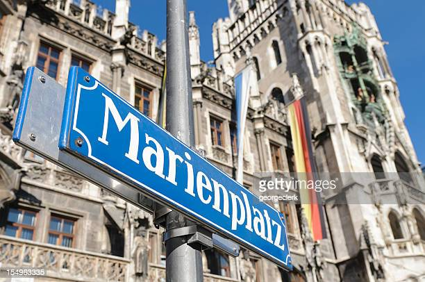 close up of marienplatz sign in central munich - marienplatz stock pictures, royalty-free photos & images