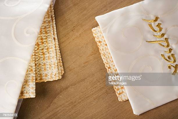 close up of matzah under cloth - passover symbols stock pictures, royalty-free photos & images