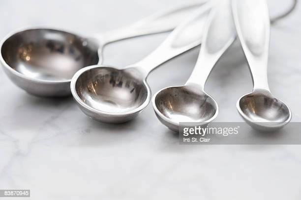 close up of measuring spoons - tablespoon vs teaspoon stock photos and pictures