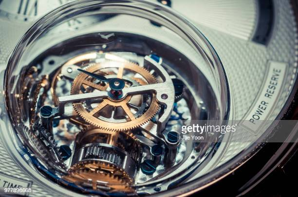 close up of mechanical watch - watch timepiece stock pictures, royalty-free photos & images