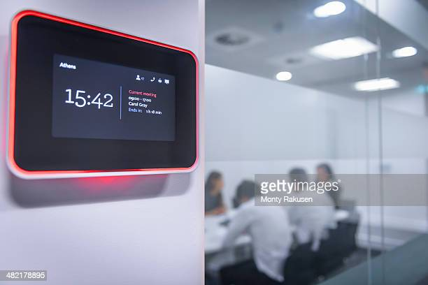 Close up of meeting room booking system