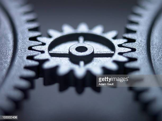 Close up of metal cogs
