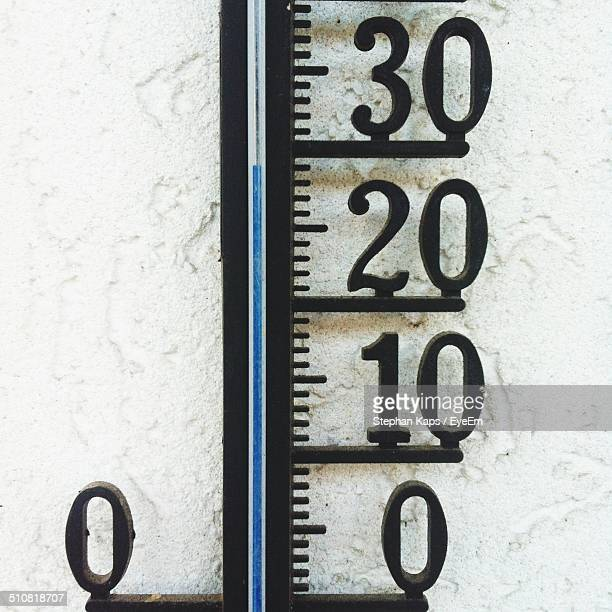 Close up of metal thermometer