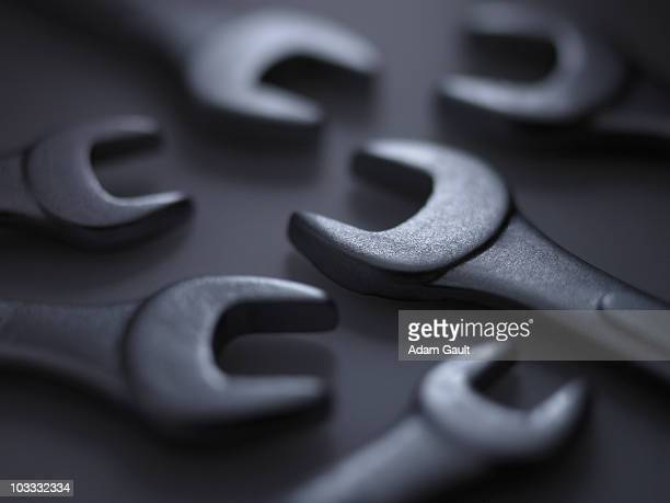 Close up of metal wrenches