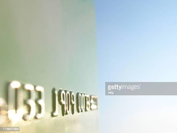 Close up of metallic credit card digits