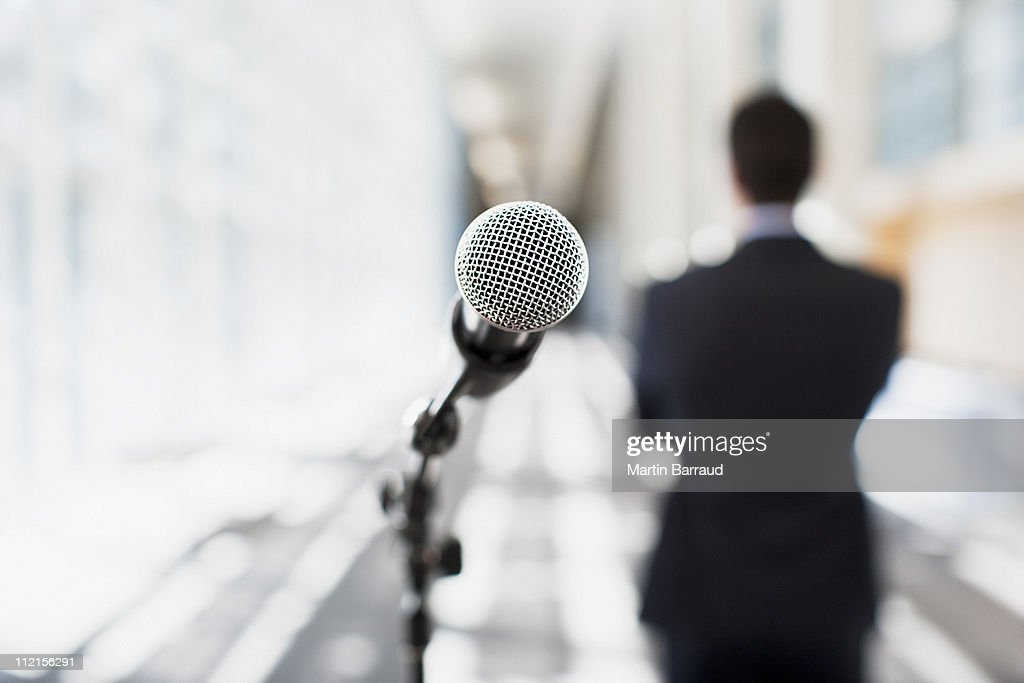 Close up of microphone in office : Stock Photo