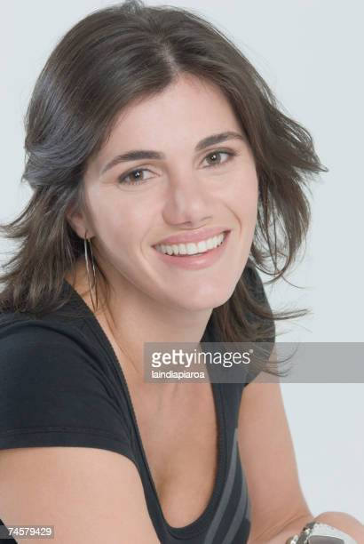 Close up of Middle Eastern woman smiling