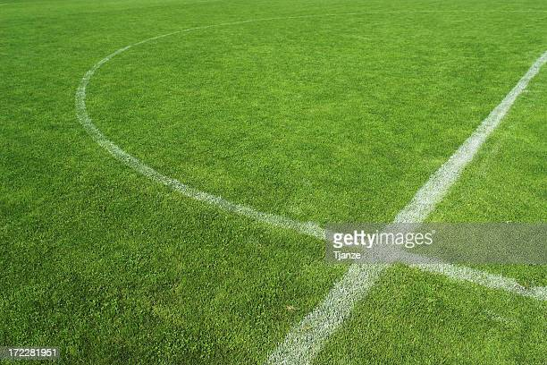 close up of middle part of soccer grass field - football bulge stock photos and pictures
